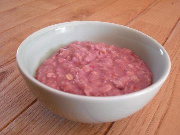 bouillie d'avoine lait framboise
