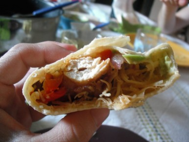 fajitas tomate poivron poulet guacamole