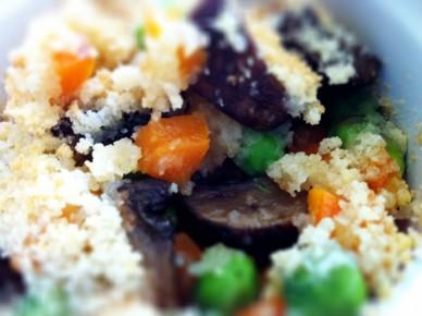 crumble petits pois carottes champignons