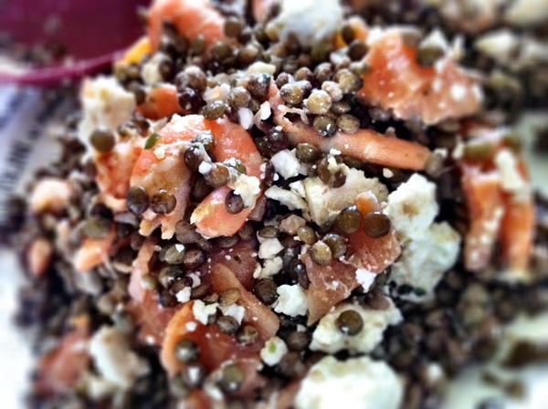 Salade de lentilles saumon feta