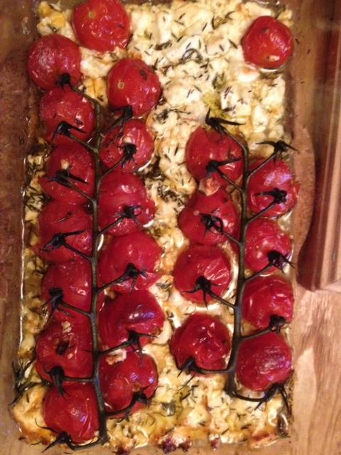 Tomates cerises et feta rôties