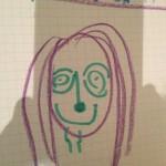 Comment dire... Rigolus a fait mon portrait... J'ai l'air heureux, non ? Défoncée mais heureuse ? (Il faudrait que vous voyiez le reste de la famille, ça passerait bien mieux mis en perspective)