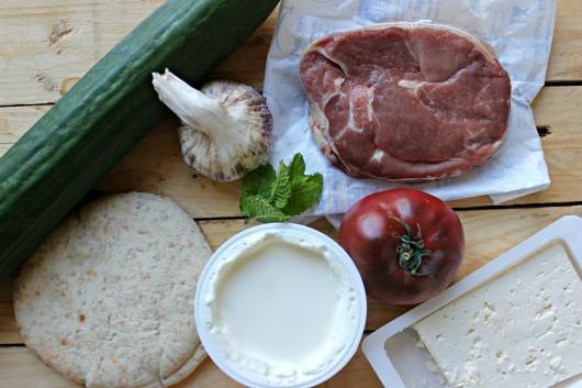 Les ingrédients des mini pitas de boulettes d'agneau